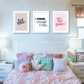 Conjunto de 3 Quadros Decorativos para Quarto Casal Be Strong, Be Beautiful, Be You - Frases
