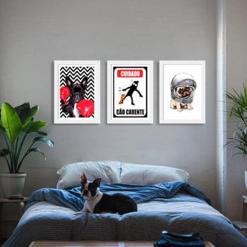 Conjunto de 3 Quadros Decorativos para Quarto Casal Cuidado Cão Carente - Meu Pet