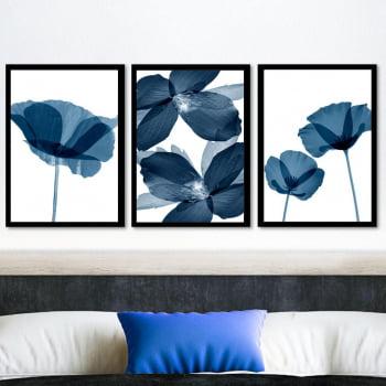 Conjunto de 3 Quadros Decorativos para Quarto Casal Flor Azul