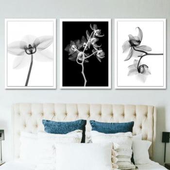 Conjunto de 3 Quadros Decorativos para Quarto Casal Flor Cattileya