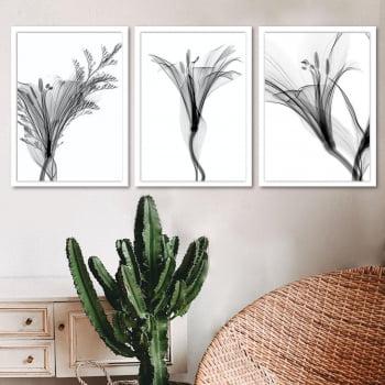 Conjunto de 3 Quadros Decorativos para Quarto Casal Lisianto