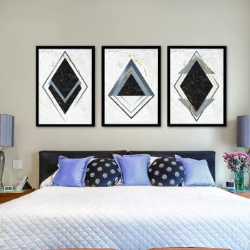Conjunto de 3 Quadros Decorativos para Quarto Casal Losango Preto e Cinza - Geométricos