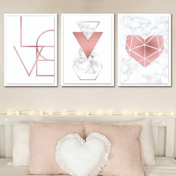 Conjunto de 3 Quadros Decorativos para Quarto Casal Love Rosa - Geométricos