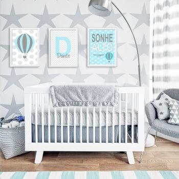 Conjunto de 3 Quadros Decorativos para Quarto Dante Sonhe Alto - Infantil