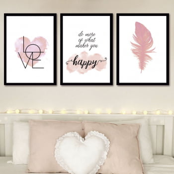 Conjunto de 3 Quadros Decorativos para Quarto Do More OF What Makes You - Namorados