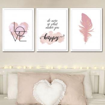 Conjunto de 3 Quadros Decorativos para Quarto Do More OF What Makes You - Namorados