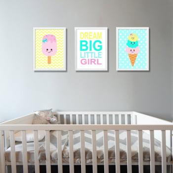 Conjunto de 3 Quadros Decorativos para Quarto Dream Big Little Girl - Infantil