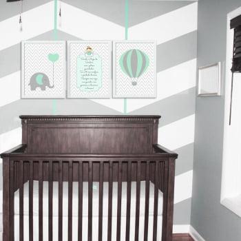 Conjunto de 3 Quadros Decorativos para Quarto Elefante, Oração e Balão - Infantil