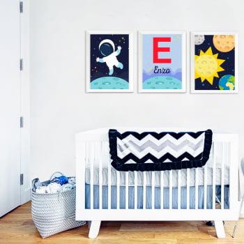Conjunto de 3 Quadros Decorativos para Quarto Enzo Astronauta - Infantil