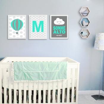 Conjunto de 3 Quadros Decorativos para Quarto - M - Sonhe Alto - Infantil