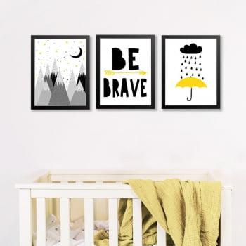 Conjunto de 3 Quadros Decorativos para Quarto Pinheiros Be Brave e Chuva - Infantil