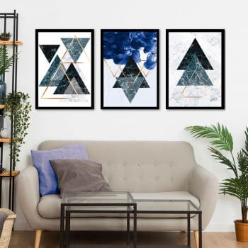 Conjunto de 3 Quadros Decorativos para Quarto Triângulos Geométricos - Azul