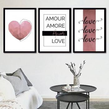 Conjunto de 3 Quadros Decorativos para Sala Amour, Amore, Amor, Love - Namorados