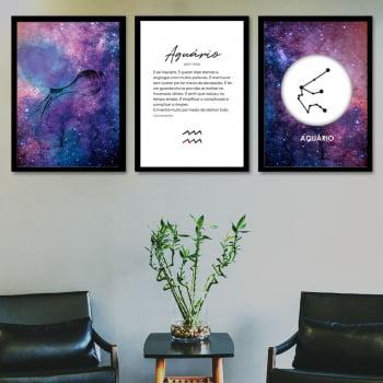 Conjunto de 3 Quadros Decorativos para Sala Aquário - Signos