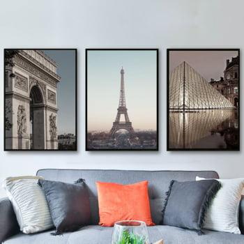 Conjunto de 3 Quadros Decorativos para Sala Arco do Triunfo, Torre Eiffel e Louvre - França