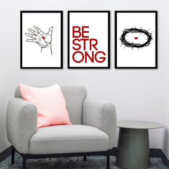 Conjunto de 3 Quadros Decorativos para Sala Be Strong - Religiosos