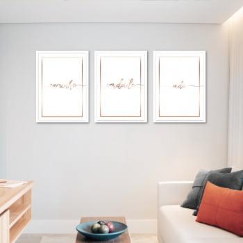 Conjunto de 3 Quadros Decorativos para Sala Caminho, Verdade e Vida - Religiosos