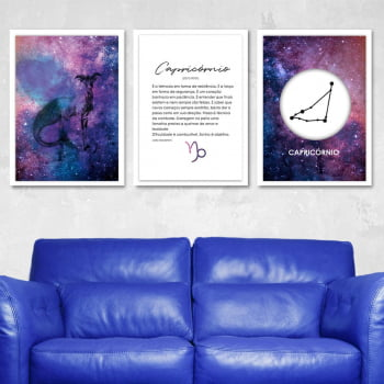 Conjunto de 3 Quadros Decorativos para Sala Capricórnio - Signos