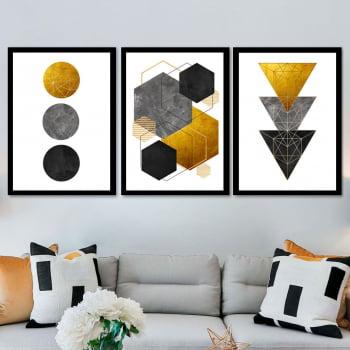 Conjunto de 3 Quadros Decorativos para Sala Círculo, Hexágono e Triângulo - Geométricos - Gold Black