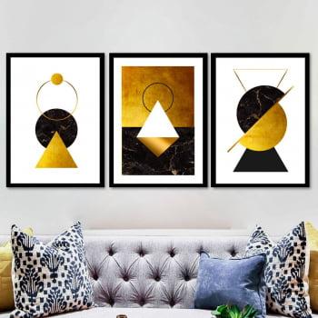 Conjunto de 3 Quadros Decorativos para Sala Círculo, Triângulo e Losango II - Dourado - Gold Black - Geométricos