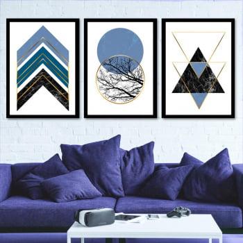 Conjunto de 3 Quadros Decorativos para Sala Círculos e Triângulos Azul - Geométricos