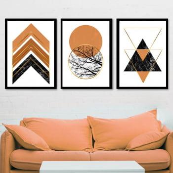 Conjunto de 3 Quadros Decorativos para Sala Círculos e Triângulos Terracota - Geométricos