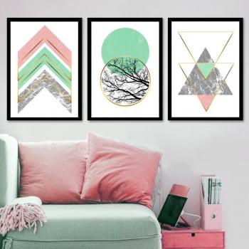 Conjunto de 3 Quadros Decorativos para Sala Círculos e Triângulos Verde e Rosa - Geométricos