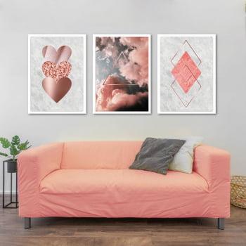 Conjunto de 3 Quadros Decorativos para Sala Coração e Nuvens Geométricos - Rosa