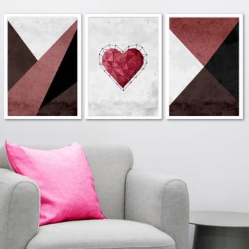 Conjunto de 3 Quadros Decorativos para Sala Coração Geométrico Vermelho - Geométricos
