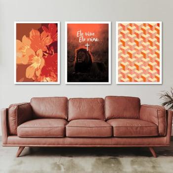 Conjunto de 3 Quadros Decorativos para Sala de Estar Ele Vive, Ele Reina - Religiosos