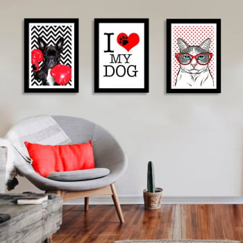 Conjunto de 3 Quadros Decorativos para Sala de Estar I Love My Dog - Meu Pet