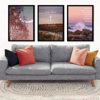 Conjunto de 3 Quadros Decorativos para Sala de Estar Vai com Fé - Religiosos