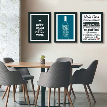 Conjunto de 3 Quadros Decorativos para Sala de Jantar Keep Calm And Drink Wine - Frases