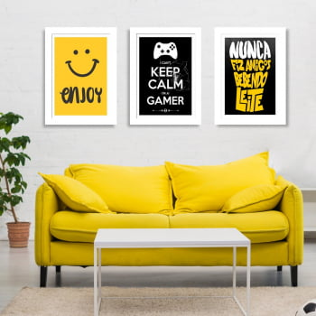 Conjunto de 3 Quadros Decorativos para Sala Enjoy - Keep Calm I'M A Gamer - Frases