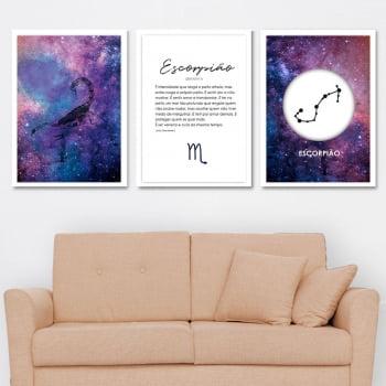 Conjunto de 3 Quadros Decorativos para Sala Escorpião - Signos