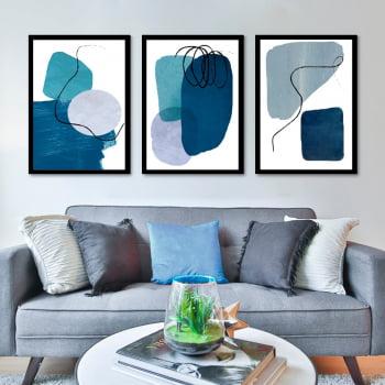 Conjunto de 3 Quadros Decorativos para Sala Formas Geométricas - Azul - Abstratos