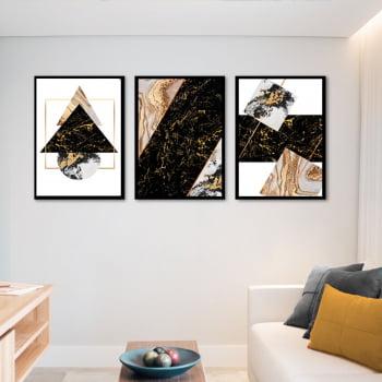 Conjunto de 3 Quadros Decorativos para Sala Formas Geométricas Modernas - Geométricos