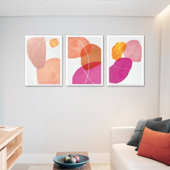 Conjunto de 3 Quadros Decorativos para Sala Formas Geométricas - Rosa - Abstratos