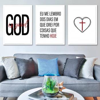 Conjunto de 3 Quadros Decorativos para Sala Good I's Good - Religiosos
