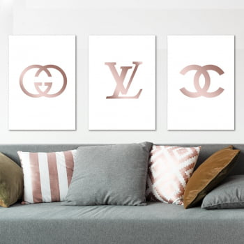 Conjunto de 3 Quadros Decorativos para Sala Gucci, Louis Vuitton, Chanel - Grifes