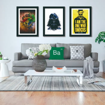 Conjunto de 3 Quadros Decorativos para Sala Hogwarts, Darth Vader e Breaking Bad - Filmes