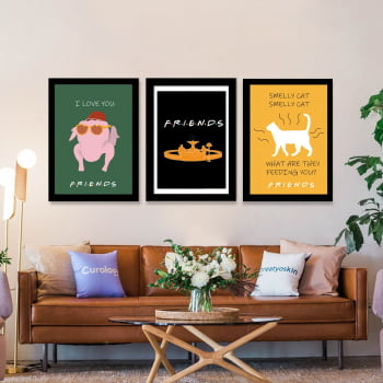 Conjunto de 3 Quadros Decorativos para Sala I Love You Friends - Smelly Cat - Filmes
