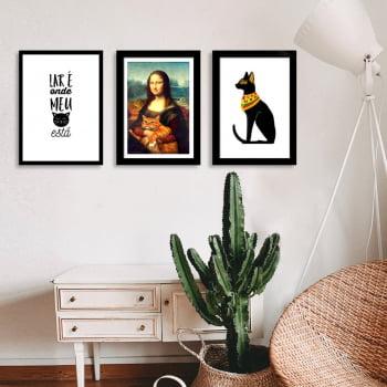 Conjunto de 3 Quadros Decorativos para Sala Lar É Onde Está Meu Gato - Meu Pet