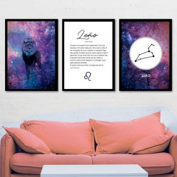 Conjunto de 3 Quadros Decorativos para Sala Leão - Signos