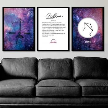 Conjunto de 3 Quadros Decorativos para Sala Libra - Signos