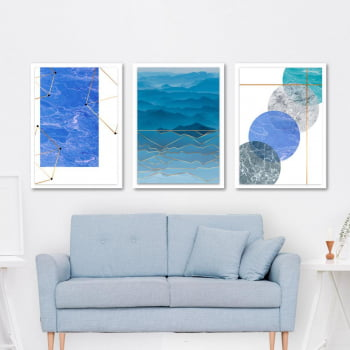 Conjunto de 3 Quadros Decorativos para Sala Mar e Nuvens Geométricos - Azul