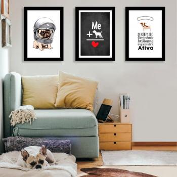 Conjunto de 3 Quadros Decorativos para Sala Me+ Dog É Igual A Amor - Meu Pet