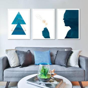 Conjunto de 3 Quadros Decorativos para Sala Mulher e Triângulos Geométricos - Azul