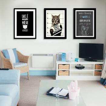 Conjunto de 3 Quadros Decorativos para Sala Não Temos Wi-Fi Brinque Com O Gato - Meu Pet
