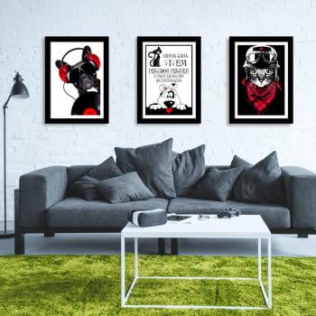 Conjunto de 3 Quadros Decorativos para Sala Nessa Casa Vivem Peludos Felizes - Meu Pet